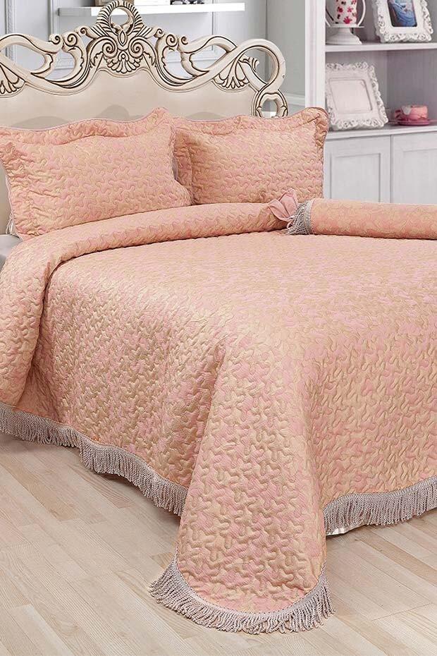 EVCİLİK - Beste Series Double Bedspread Light Pink Color