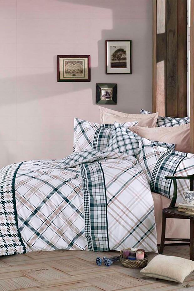 EVCİLİK - Checker Double Duvet Cover Set in Beige