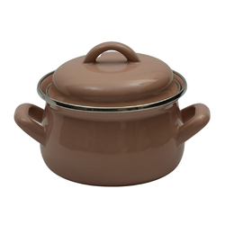 EVCİLİK - Cook and Store Mini-Enamel Pots Can Also Be Used as Sauce Pan in Milk Coffee Color