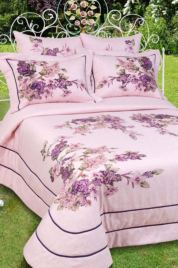 EVCİLİK - Naz Series Polyster Four Season Bedspread in Powder pink