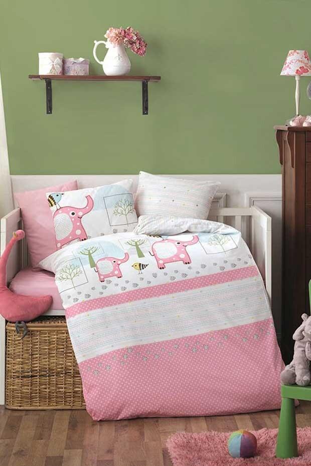 EVCİLİK - Elephant Pink Baby Sleeping Set for the Girls