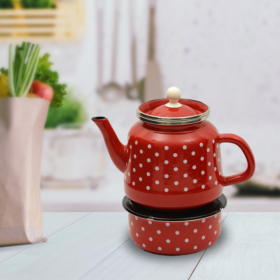 EVCİLİK - Enamel Turkish Teapod with White Spots in Red Which Can Be Heated From Below