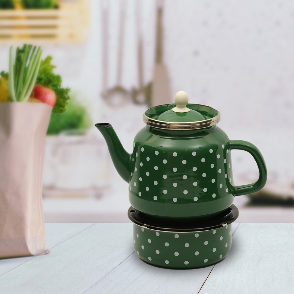EVCİLİK - Enamel Turkish Teapod with White Spots in Green Which Can Be Heated From Below