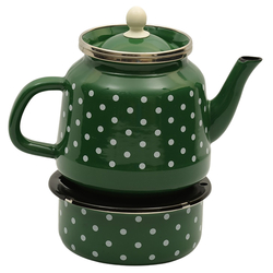Enamel Turkish Teapod with White Spots in Green Which Can Be Heated From Below