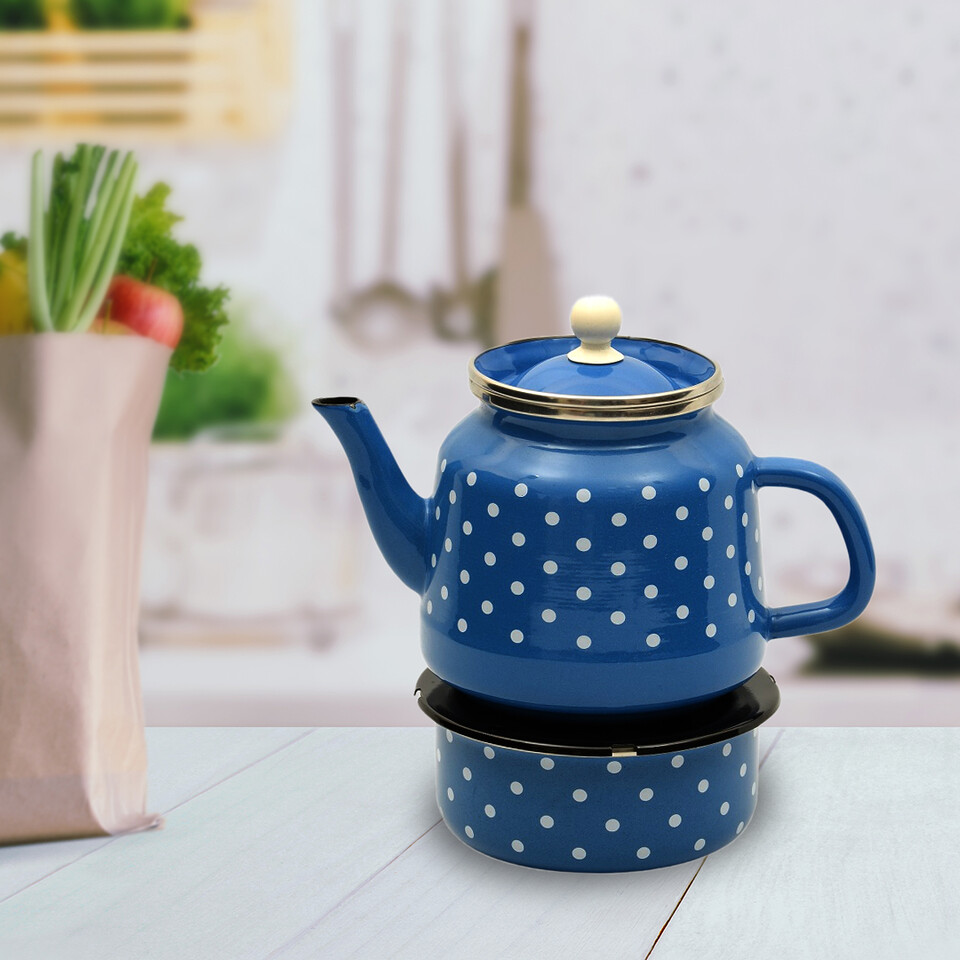 EVCİLİK - Enamel Turkish Teapod with White Spots in Blue Which Can Be Heated From Below