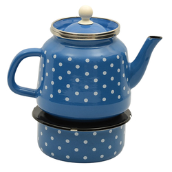 Enamel Turkish Teapod with White Spots in Blue Which Can Be Heated From Below