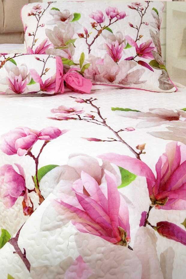 EVCİLİK - Flower Printed Double Bedspread