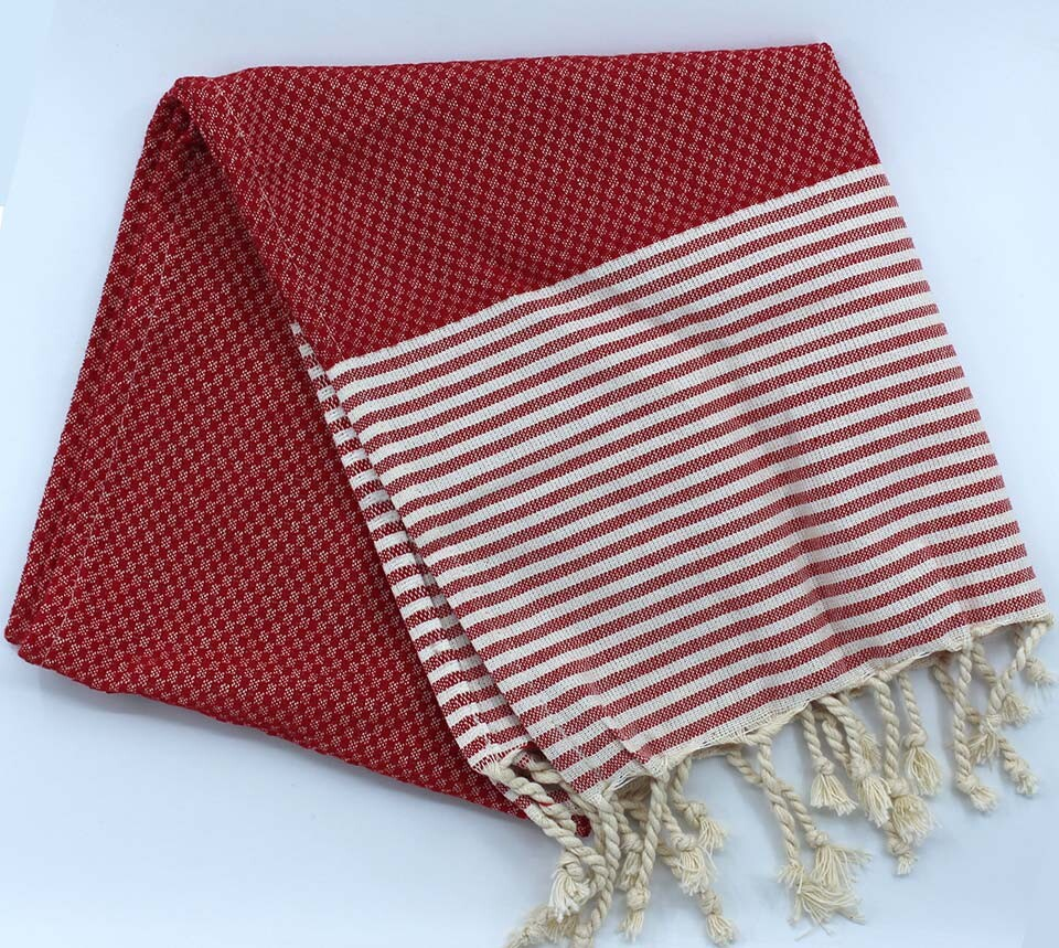 EVCİLİK - Helen Peshtemal Hand And Hair Towel in Red