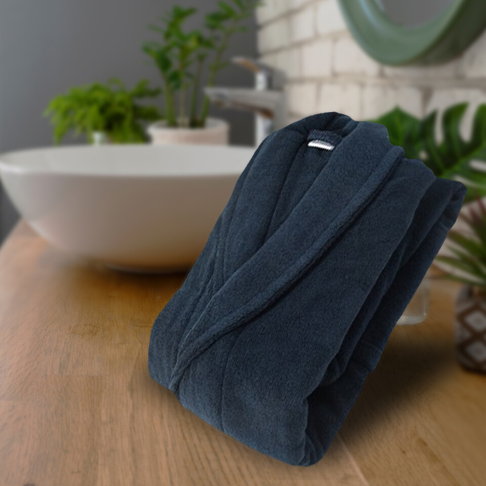 EVCİLİK - 100 Percent Micro Cotton Shawl Collar Bathrobe in Dark Blue Does Not Contain Artificials
