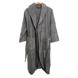 EVCİLİK - 100 Percent Micro Cotton Shawl Collar Bathrobe in Grey Does Not Contain Artificials