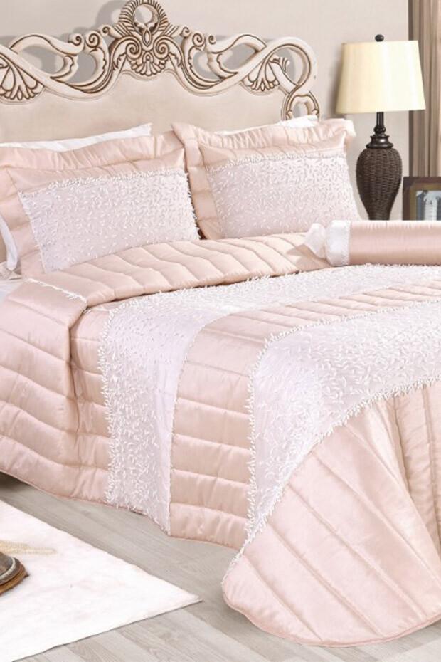EVCİLİK - Izmir Double Bedspread Beige Cream