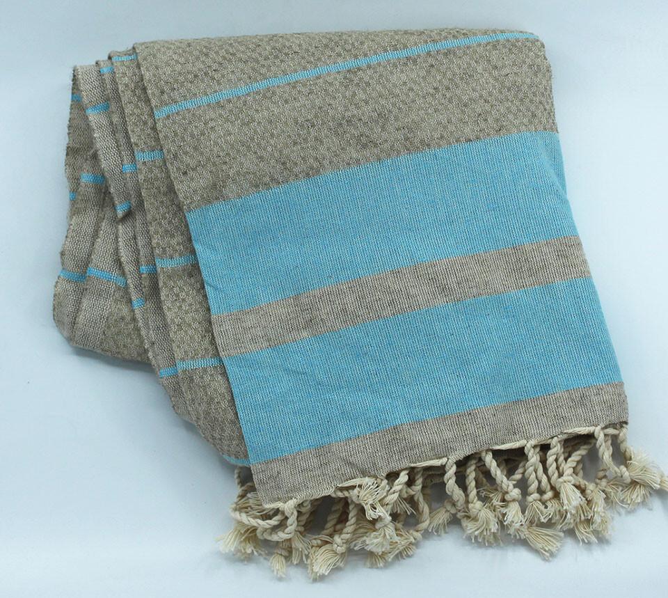 EVCİLİK - Linen Odel Peshtamal Turkish Towel with Blue Stripes on Ecru