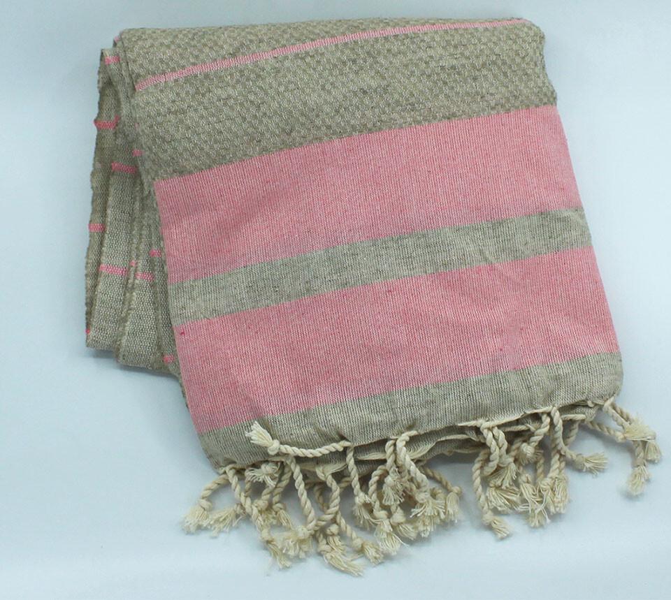 EVCİLİK - Linen Odel Peshtamal Turkish Towel with Pink Stripes on Ecru