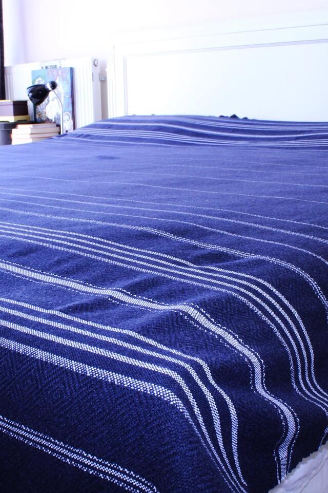 EVCİLİK - Peshtamal Weaving Organic Multipurpose Cover Dark Navy Blue