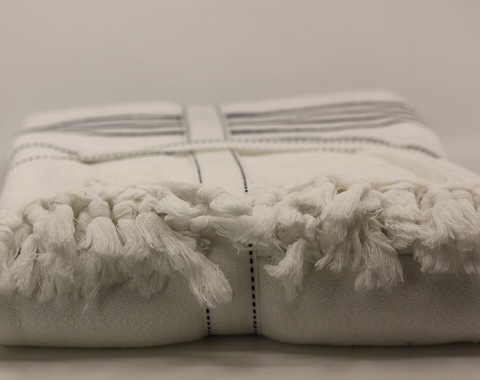 Peshtamal Weaving Organic Multipurpose White with Navy Blue Stripes