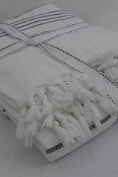 EVCİLİK - Yün Dokuma Organik Çok Amaçlı Beyaz Üzerine Gri Çizgili