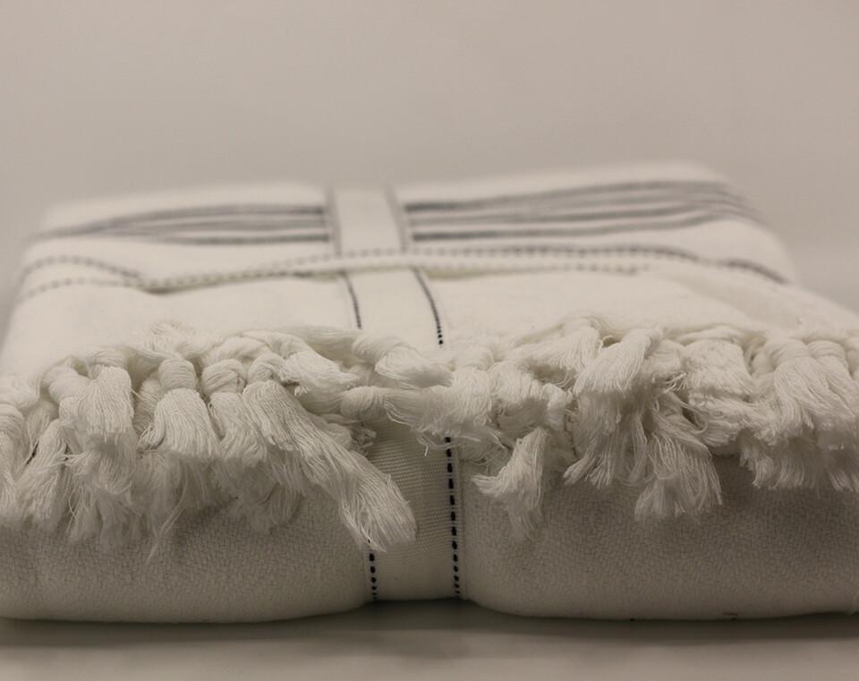 Yün Dokuma Organik Çok Amaçlı Beyaz Üzerine Lacivert Çizgili