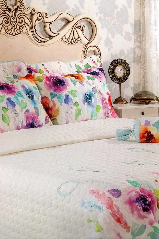 EVCİLİK - Rose Printed Double Bedspread