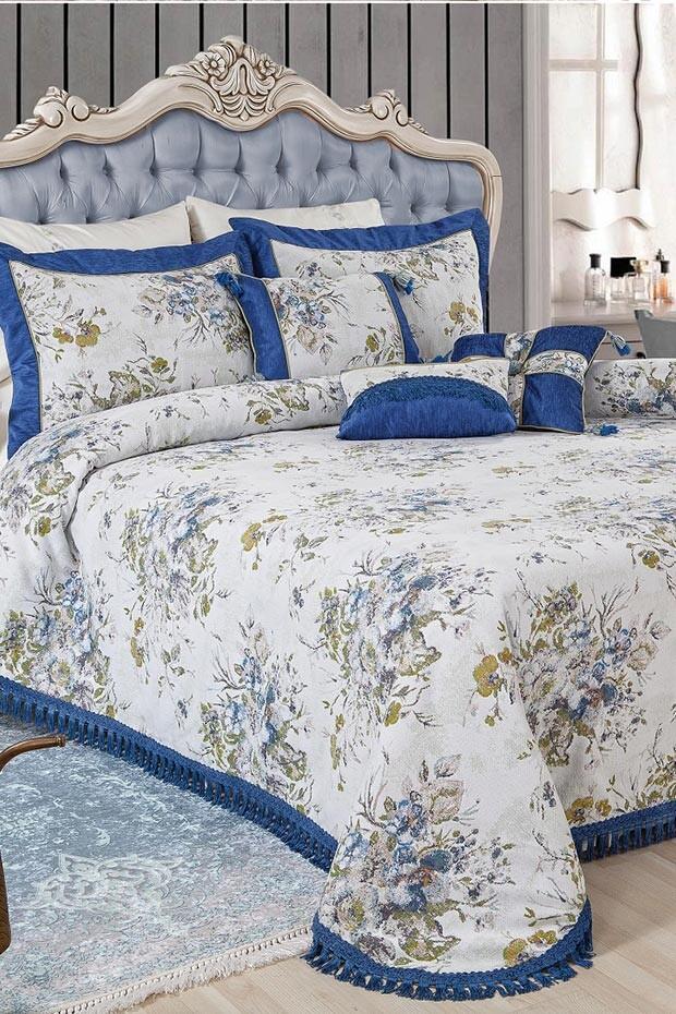 EVCİLİK - Sarah Blue Double Bedspread