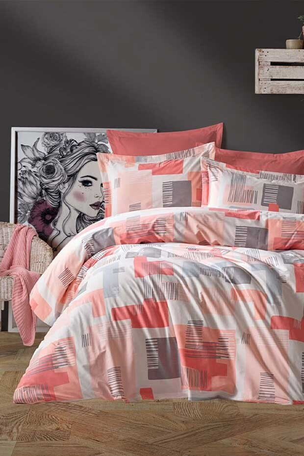 EVCİLİK - Lena Ranforce Double Duvet Cover Set in Terracotta