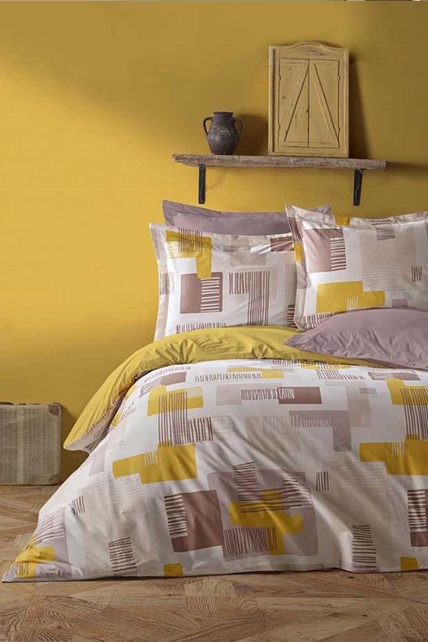 EVCİLİK - Lena Ranforce Double Duvet Cover Set in Yellow