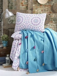 EVCİLİK - Turquoise Pique Set with Hued Boobbles Including Sheet and Two Pillowcases