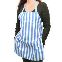 EVCİLİK - Trend Kitchen and Working Apron in White With Dark Blue Vertical Stripes