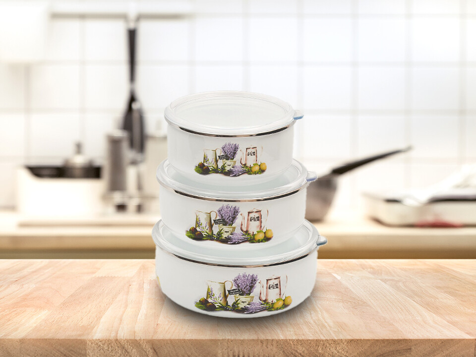 EVCİLİK - Triple Storage Container Decorated with Lavender
