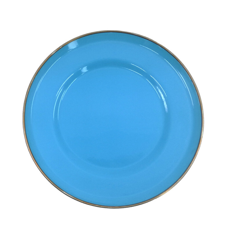 EVCİLİK - Turquoise Emaye Cake Plate With Golden Color Edges