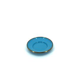 EVCİLİK - Turquoise Enamel Coaster Edge With Golden Glaze