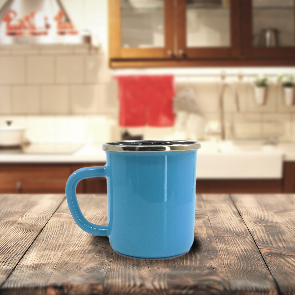 EVCİLİK - Turquoise Enamel Cup Designed With Embouchure Ring in Gold Color