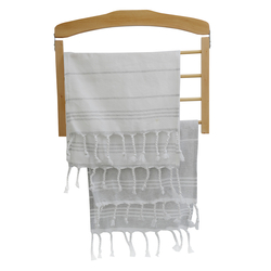 EVCİLİK - Twin Tea Towel Set in in combination of Grey Stripes on White and White Stripes on Grey