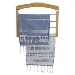 EVCİLİK - Twin Tea Towel Set in in combination of Navy Blue Stripes on White and White Stripes on Navy Blue