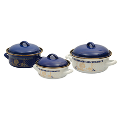 EVCİLİK - Vintage Three Enamel Cooker Set with Dark Blue Pot Cover Elite, Handy, Take up Little Space, Thanks to Extra Vacuum Covers, It Has Bake and Store Feature
