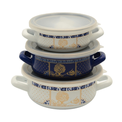 Vintage Three Enamel Cooker Set with Dark Blue Pot Cover Elite, Handy, Take up Little Space, Thanks to Extra Vacuum Covers, It Has Bake and Store Feature